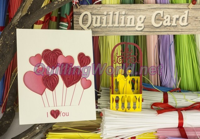 pop-up card 3D kirigami quilling-card, quilling-paper quilling 034