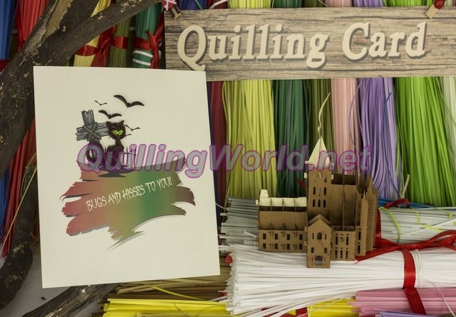 pop-up card 3D kirigami quilling-card, quilling-paper quilling 047